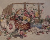 """Completed Cross Stitch Sampler """"Poems and Promises"""" by Paula Vaughan"""