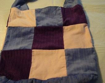 Patchwork Corduroy Tote Bag