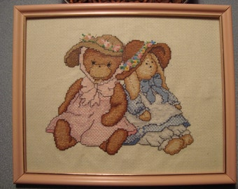 "Completed Cross Stitch Sampler ""County Girls"" by Dale Burdett"