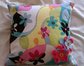 Envelope style cushion cover and pad with felt flower applique