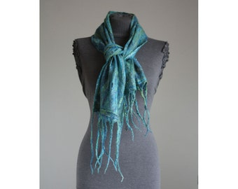 "hand made cobweb felted merino wool scarf "" Azure Medley"" perfect  gift, unique, warm and soft"