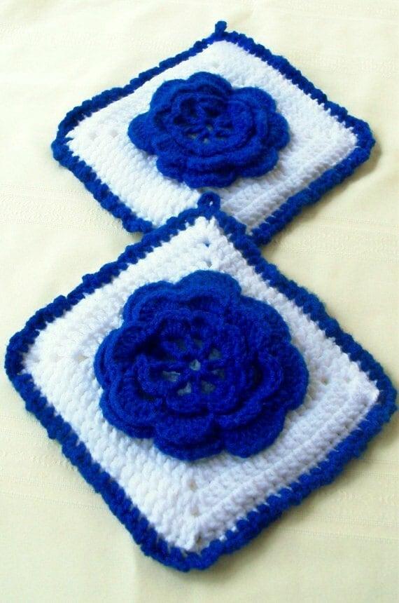 Blue Rose Potholder Set - Set of 2