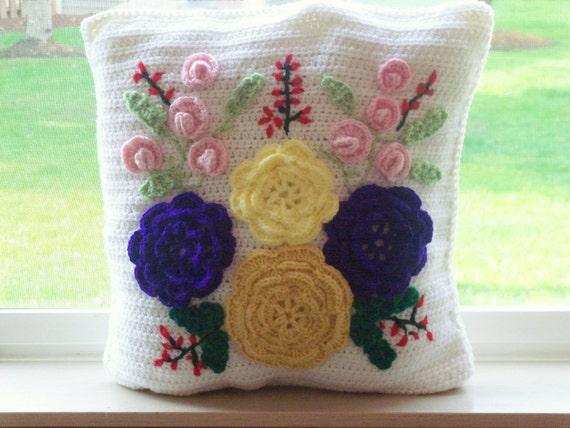 Decoritive Handmade Crochet Pillow - Spring Summer Flower Designs - One Pillow