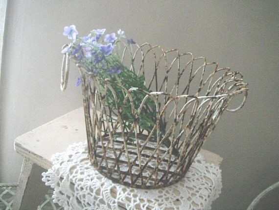 Metal basket - farmhouse style, eggs, garden, planting - chippy rusty