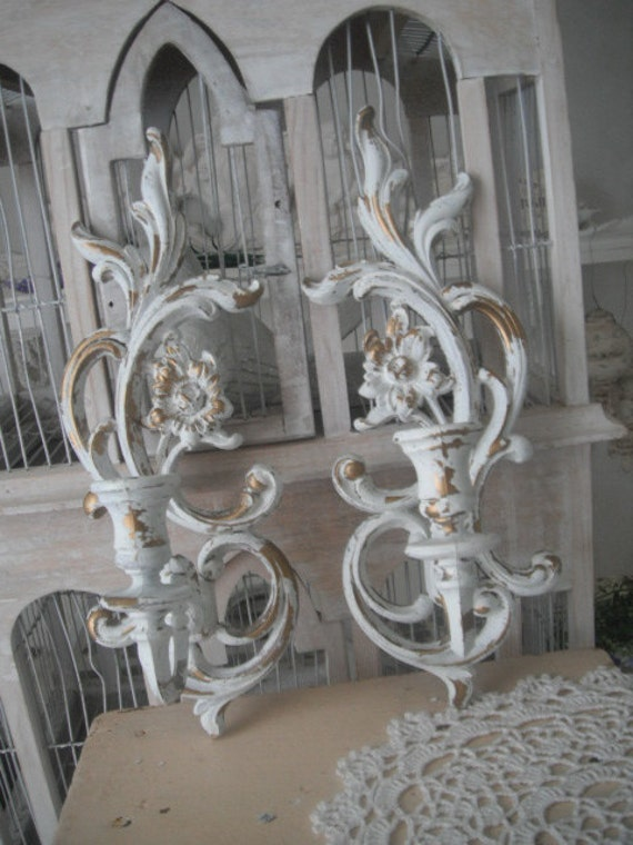 Candle wall sconces shabby chic French country by Thehouseofshabby