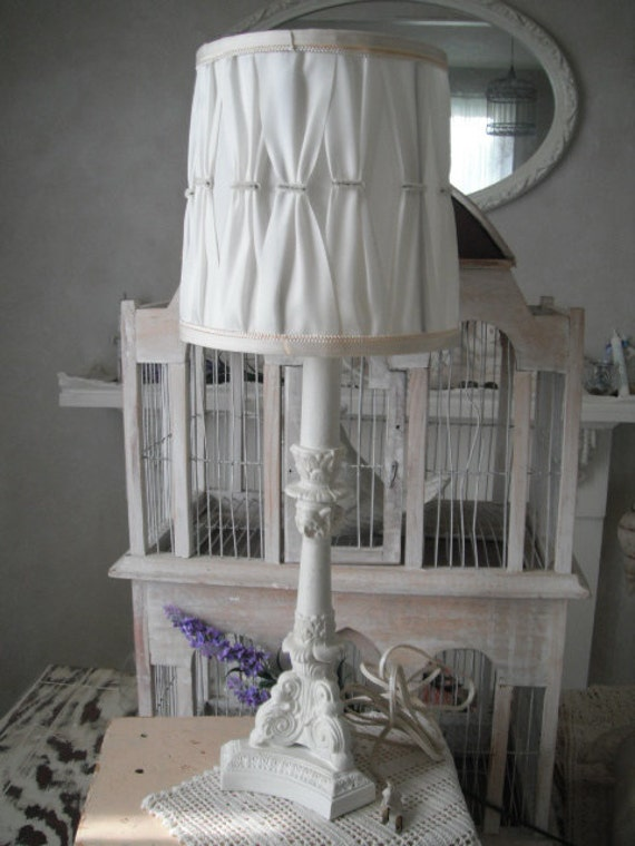 painted lamp shabby chic white lamp vintage style lamp