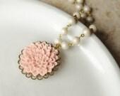 Vintage Pearls, Pink Flower Necklace, Pink Flower Pendant