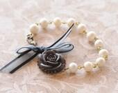 Vintage Pearl Bracelet, Black Rose, Shabby Chic