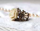 Ivory Rose Ring Jewelry Bridesmaid Jewelry Wedding Bridesmaid Gift Ring Rustic Jewelry Statement Ring Cocktail Ring Adjustable Ring Rustic