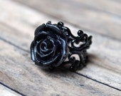 Black Statement Ring Jewelry Black Rose Ring Victorian Gothic Jewelry Ring Cocktail Ring Jewelry Adjustable Ring