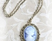 Blue Cameo Jewelry Victorian Necklace Jewelry Bridesmaid, Gift, Cameo Necklace