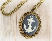 Anchor Jewelry, Nautical Jewelry, Bridesmaid Gift Necklace, Preppy, Marine, Boating