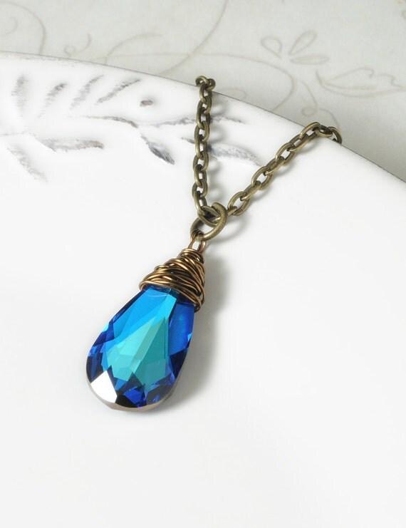 Bridesmaid Gift, Blue Swarovski Crystal Necklace, Wedding Party