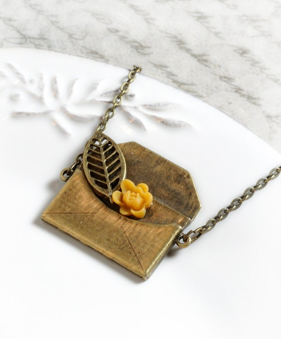 Envelope Necklace Flower Charm