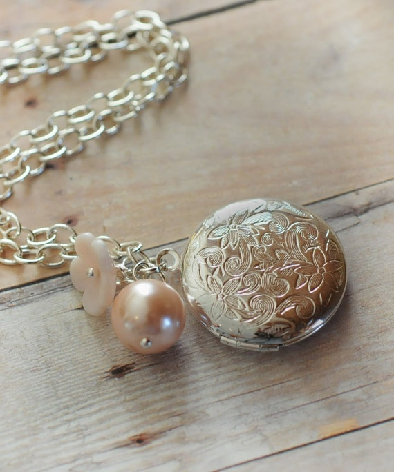 Silver Locket Jewelry, Long, Pink Pearl, Czech Pink Flower, Silver Floral Locket Necklace