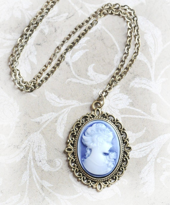 Blue Cameo Jewelry Victorian Necklace Jewelry Bridesmaid