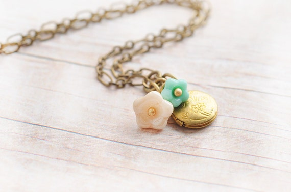 Gold Locket Jewelry Necklace Sweet Sixteen Turquoise Cream Charm Flowers Jewelry