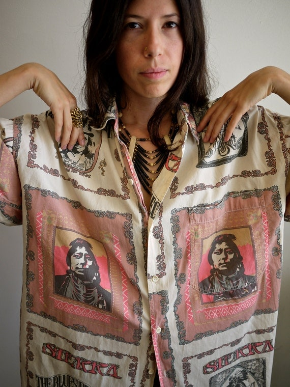 RESERVED Native American Fillmore Poster Inspired 90s Button Up