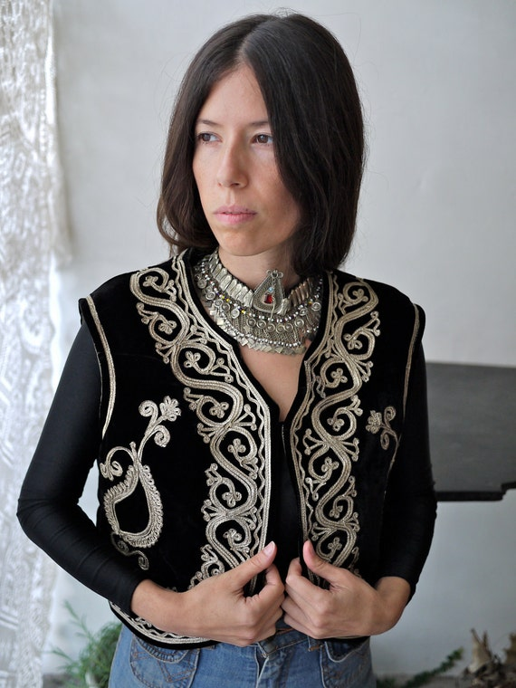 SALE Boho Black Velvet Indian Vest with Gold Embroidery