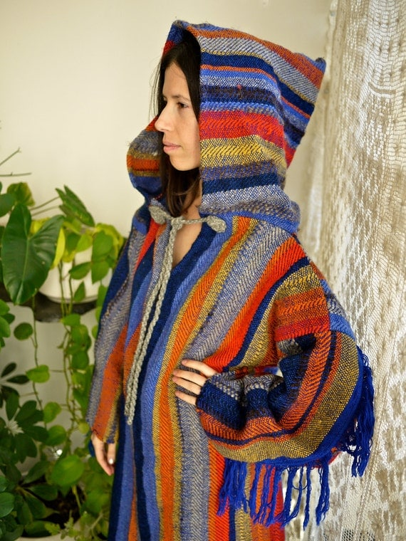 Unisex Hooded Shaman Baja with Blue Fringe Sleeves