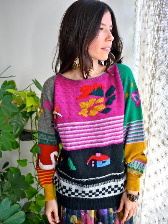80s Rainbow Countryside Creature Sweater
