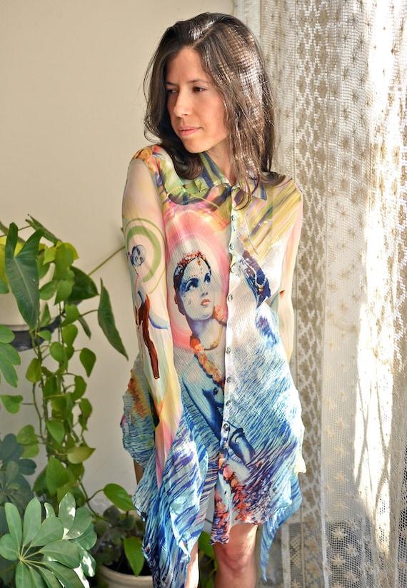 90s Jean Paul Gaultier Femme Psychedelic Krishna Blouse