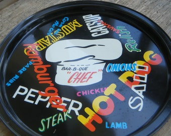 Retro Barbeque Cook Out Vintage Metal Trays Set of Six
