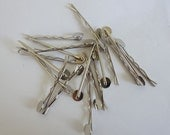 200 pcs Silver Plated Bobby Pins 2 inch with 10mm Round Pad