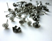 48 pieces Stainless Steel 4mm Flat Pad Earring Posts and Backs