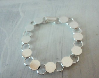 3 Silver Plated Disk and Loop Bracelet with Glueable Pads