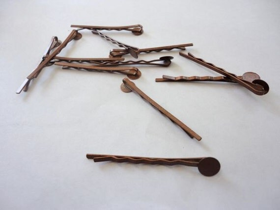 10 pcs Brown Bobby Pins with Glue Pad