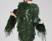 RESERVED - Dark green nuno felted elegant wool cape with merino, silk cocoons and fibers