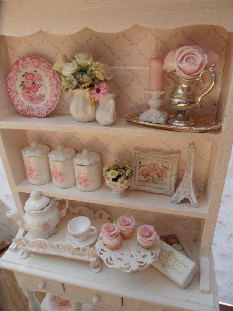 Items Similar To Dollhouse 1 12 Scale Shabby Chic Kitchen Hutch On Etsy