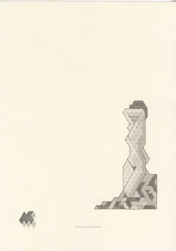 Contemporary Wall Art - Emma Standing Twist  - Isometric Limited Edtion Wall Print - 2/50