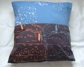 Ice themed hand printed blue and grey cushion cover.