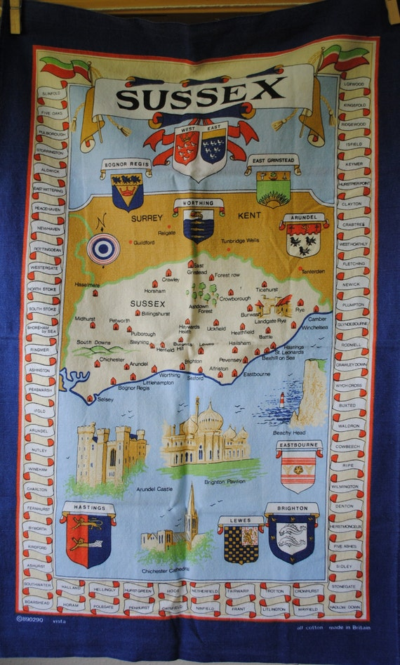 Vintage Map of Sussex Tea Towel Vista All Cotton Made in Britain Towel