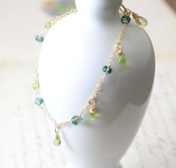 Green Topaz and Bicolor Quartz Bracelet