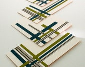 Modern Circuit Set of 4 Woven Paper Blank Cards (A2 size- 3-1/2x5) in Olive, Teal, and Black for Him - TheOwlandtheEnvelope
