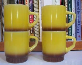 Fire King Fade Yellow Brown Mugs Set of 4