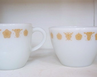 Corning Gold Butterfly Cream and Sugar Set
