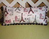 Eiffel Tower Paris Pillow in White Pink and Black with Sparkles Handmade