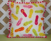 Flip Flops Pillow Cover in Pink, Orange, Yellow and Lime