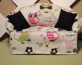 Owl Print Tissue Box Cover in  Sofa Shape Hot Pink Green and Black on Natural Background - JRsPillowsandBags