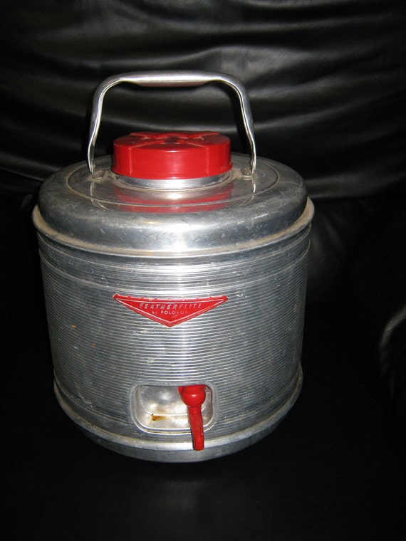 Poloron Featherflite Aluminum Vintage Water Jug Cooler With