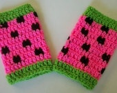 Hand Crocheted - Watermelon Leg warmers -Available In 0-6mo/6-12mo/12-18mo/2-4t
