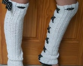 Hand Crocheted -Custom Made To Size - Pin Up Polka Dot - Teen/Adult Over The Knee Leg Warmers