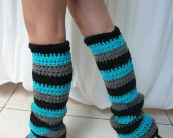 FREE SHIPPING - Hand Crocheted -Custom Made To Size - Teen/Adult - Dance Party Leg Warmers