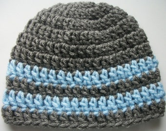 FREE SHIPPING - Hand Crochet - Grey and Baby Blue Striped Hat- Available In Sizes: Newborn-Adult - Photo Prop