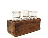 Vintage Milk Bottle Set with rustic wooden crate - home decor- party decor - baby shower