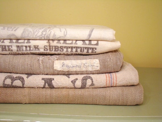 Feed Sacks - DECORATIVE STACK of Feed Sacks - Vintage Rustic Home Decor